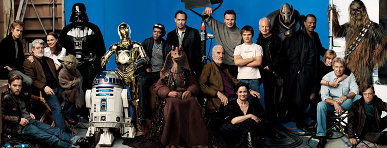 The cover of Vanity Fair, featuring the cast of all six Star Wars